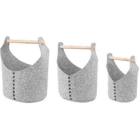Set of 3 Felt Baskets Grey SALUR