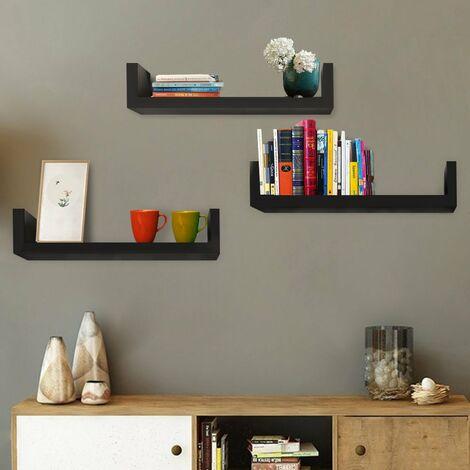 Set of 3 Floating Display Shelves Ledge Bookshelf Wall Mount Storage Home D¨¦cor Black