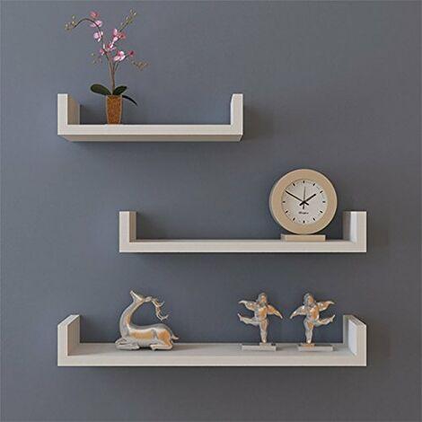 Set of 3 Floating Display Shelves Ledge Bookshelf Wall Mount Storage Home D¨¦cor White
