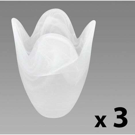 Set Of 3 - Frosted Marble Glass Tulip Floral Replacement Shades - White