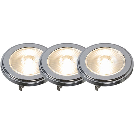 Set of 3 G53 AR111 LED 10W 800LM 3000K Dimmable