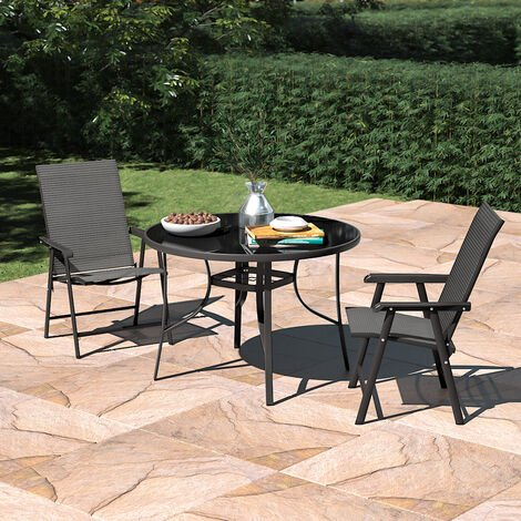 Set of 3 Garden 105CM Patio Glass Umbrella Table and Folding Chairs Set