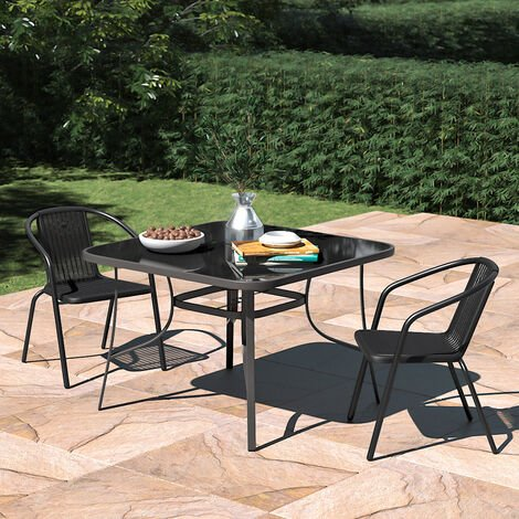 Set of 3 Garden 105CM Patio Glass Umbrella Table and Stackable Chairs Set