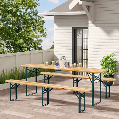 Set of 3 Garden Folding Wooden Bench Table Chairs Set