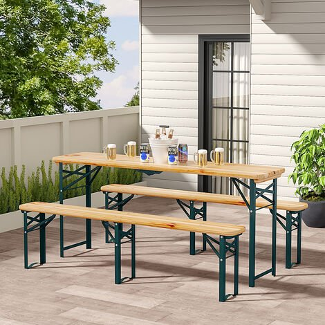 Set of 3 Garden Folding Wooden Bench Table Chairshair Set