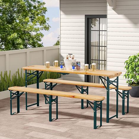 Set of 3 Garden Folding Wooden Bench Table Chairshair Set