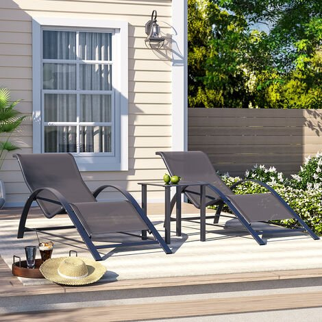 """main image of """"Set of 3 Garden Patio Sun Lounger Table Set, Outdoor Poolside Recliner, Outdoor Deck Chairs"""""""