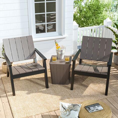 "main image of ""Set of 3 Garden Plastic Patio Furniture Set, Light Brown"""
