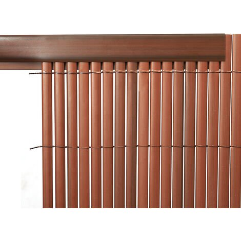 Set of 3 Garden Privacy 1M Profile Cover for Mat Screen Border Panel Fence, Brown