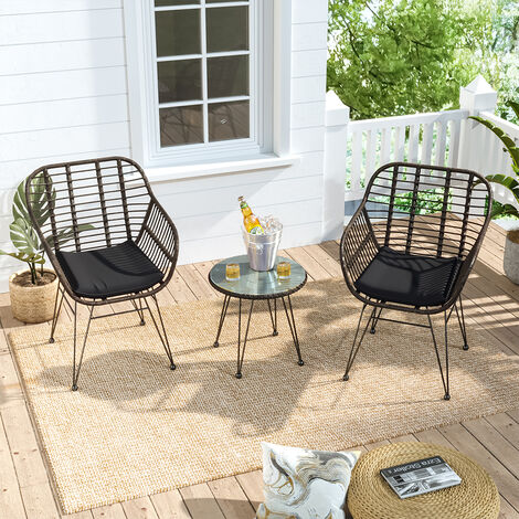 """main image of """"Set of 3 Garden Rattan Bistro Chairs and Table Set with Cushions, Yellow"""""""
