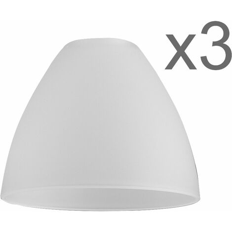 Set of 3 Glass Replacement Shades - Frosted Round - White