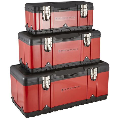 Set of 3 Heavy Duty Tool Box Chest - Strong Metal Latches, Handle & Inner Tray