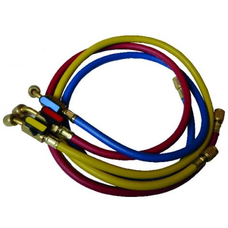 Set of 3 hoses flare connection FF 1/4? with valve - GALAXAIR : SA-CT360-RYB