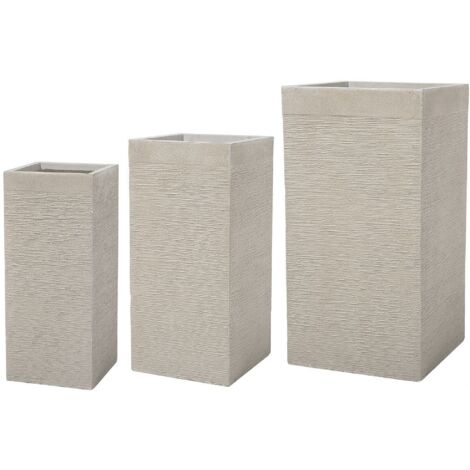 Set of 3 Large Tall Planters Clay Graden Decor Indoor Outdoor Beige Dion