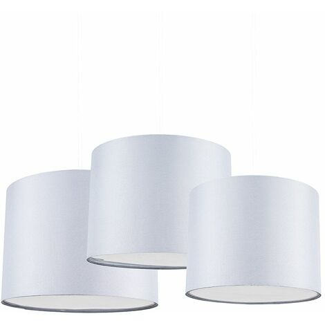 Set Of 3 Modern Grey Drum Pendant Ceiling Light Shades With Diffusers