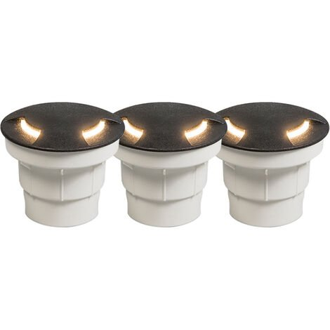 Set of 3 Modern Ground Recessed Spotlight Black IP67 incl. LED - Ceci 2