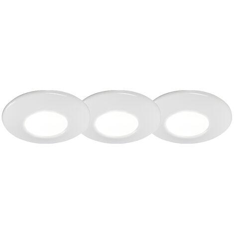 Set of 3 modern recessed spotlights white IP44 - Gap