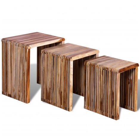Set of 3 Nesting Tables Reclaimed Teak Hand-made Vintage Rustic Furniture Side Table End Table Couch Side Stand Laptop Holder Multi Colours