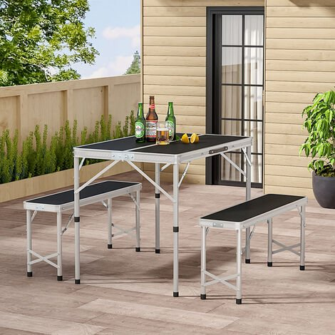 Set of 3 Outdoor Picnic Camping Folding Table And 2pcs Benches Set, Black