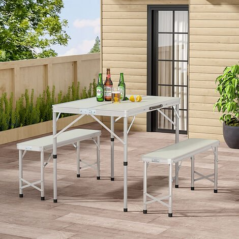 Set of 3 Outdoor Picnic Camping Folding Table And 2pcs Benches Set, Silver