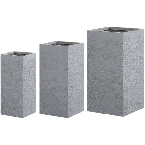 Set of 3 Plant Pots Grey DION
