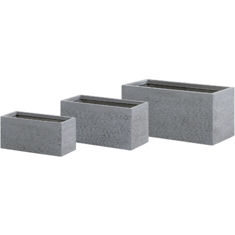 Set of 3 Plant Pots Grey MYRA