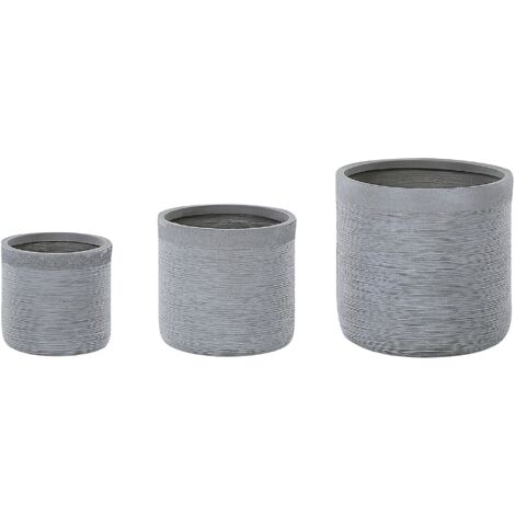 Set of 3 Plant Pots Grey SAMOS