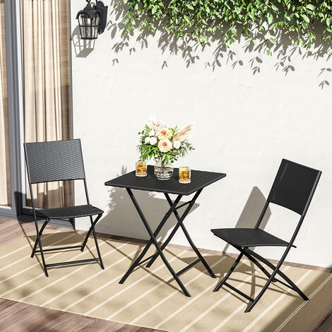 Set of 3 Rattan Garden Foldable Coffee Table and Chairs Set, Black