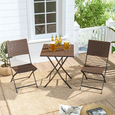 """main image of """"Set of 3 Rattan Garden Foldable Coffee Table and Chairs Set"""""""
