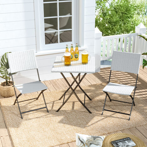 Set of 3 Rattan Garden Foldable Coffee Table and Chairs Set, White
