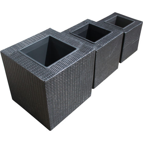 Set of 3 Rattan Garden Furniture Square Flower Pot Planters in Black