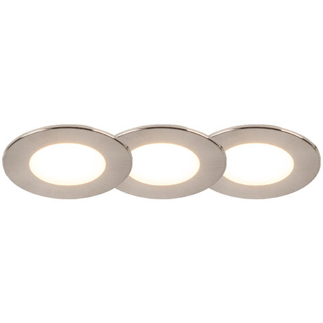 Set of 3 recessed spotlights round steel incl. LED IP65 - Simply