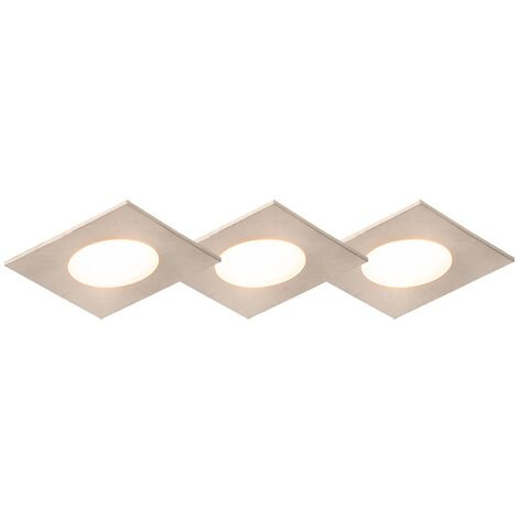 Set of 3 recessed spotlights square steel incl. LED IP65 - Simply