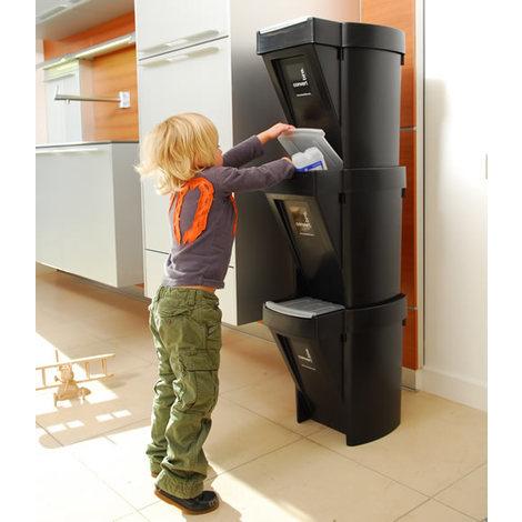 Set of 3 Recycle Bins - Black