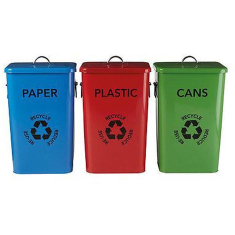 Set of 3 recycle logo bins, red plastic / blue paper / green cans