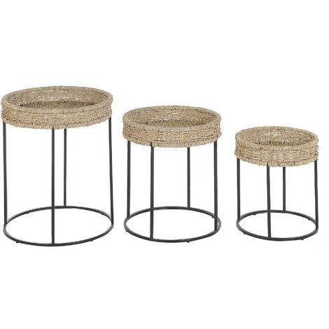 Set of 3 Side Tables Light Wood with Black Nesting Natural Rattan Top Tomoka