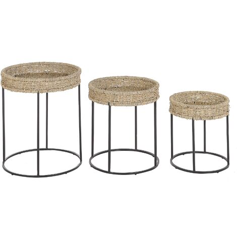 """main image of """"Set of 3 Side Tables Light Wood with Black Nesting Natural Seagrass Top Tomoka"""""""