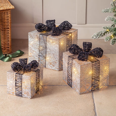 Set Of 3 Sparkly Cotton Light Up Christmas Parcels