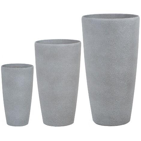 "main image of ""Set of 3 Stone Planters Outdoor Indoor Tall Plant Pot Grey Abdera"""