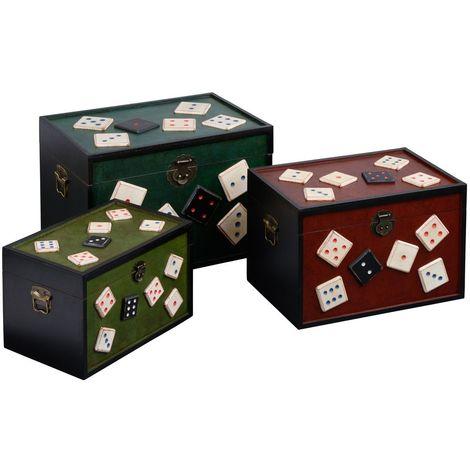 Set of 3 storage trunks,dice design,md