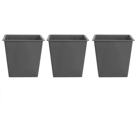Set of 3 Traditional Plant Flower Pot Protective Inserts Square Black 34 cm