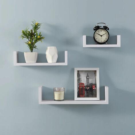 Set of 3 U Shape Floating Wall Shelve Storage Display Shelf