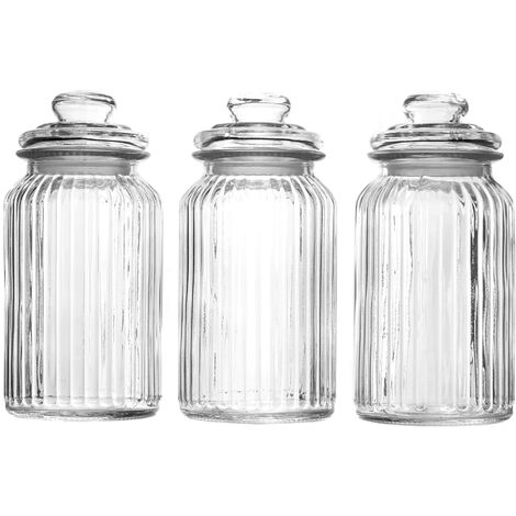 """main image of """"Set of 3 Vintage Airtight Glass Jars 