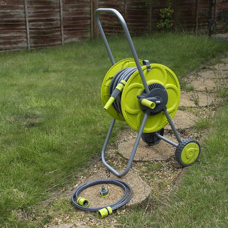 SET OF 30M HOSE & REEL TROLEY GARDEN WATERING PIPE CART STANDING WINDER TUBE