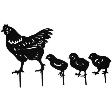 Set of 4 acrylic garden stakes - rooster pattern and hen - garden decoration