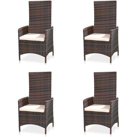 Set of 4 Adjustable garden recliner Polyrattan garden furniture balcony seating