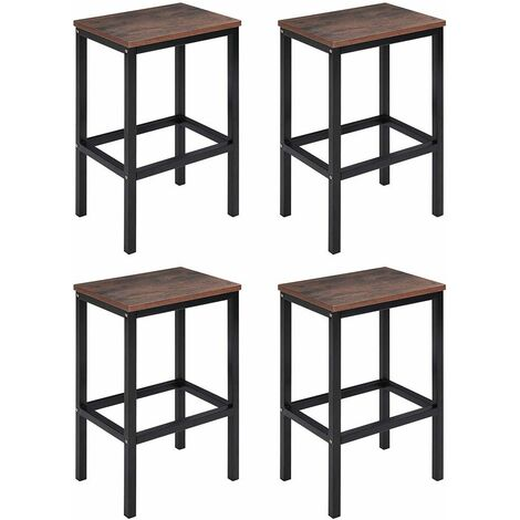 Set of 4 Bar Stools Kitchen Breakfast Chairs Seat Barstools Industrial Wooden