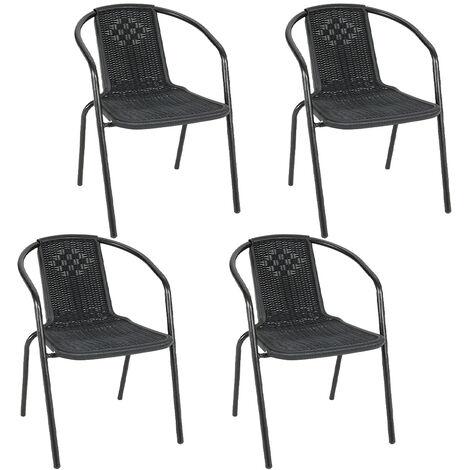 Set of 4 Black Garden Patio Metal Wicker Chairs