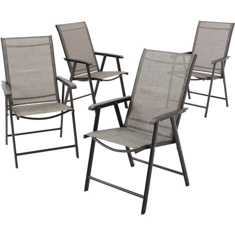 Set of 4 Brown Garden Patio Folding Chairs