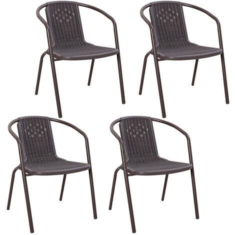 Set of 4 Brown Garden Patio Metal Wicker Chairs